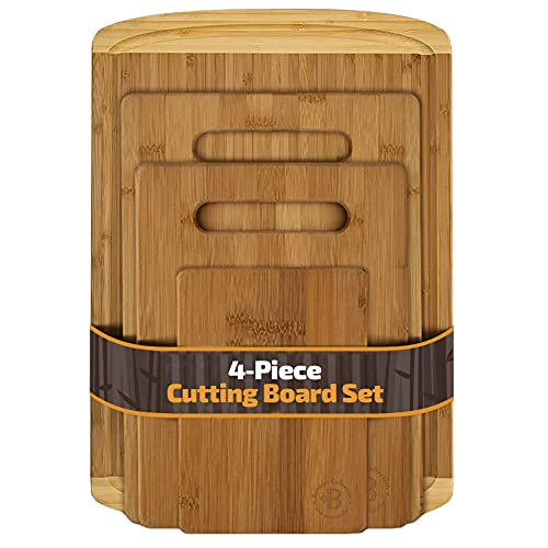 Bambüsi Bamboo Cutting Board Set - 4-Piece Kitchen Chopping Boards with Juice Groove for Meat, Cheese and Vegetables - Large Natural Wood Butcher Block, Cheese Board & Charcuterie Board