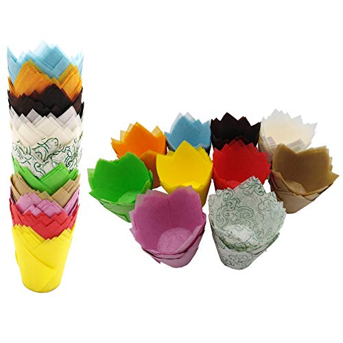 200 PCS Tulip Cupcake Liner Baking Cups Paper Cupcake and Muffin Baking Cups for Baby Showers,Weddings, Birthdays, Colourful and Natural (Ten Color)