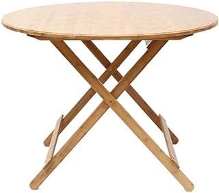 HX Table De Loisirs Portable Table Ronde Table De Loisirs Table Simple Table Pliante Petit Appartement Table en Bambou Tab...