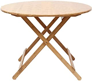 HX Table De Loisirs Portable Table Ronde Table De Loisirs Table Simple Table Pliante Petit Appartement Table en Bambou Tab...