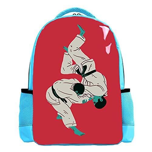 YATELI Zaino leggero per la scuola,Taekwondo Wrestling. ,Classico zainetto casual resistente all'acqua di base da viaggio con tasche laterali per bottiglie