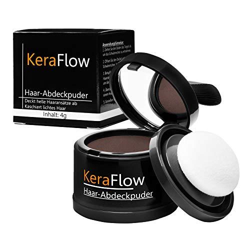 KERAFLOW - Abdeckpuder gegen lichte Haare, Ansatzpuder gegen kahle Stellen, Haarpulver zum Kaschieren für Haaransatz, Haarpuder - (MITTELBRAUN) 4g