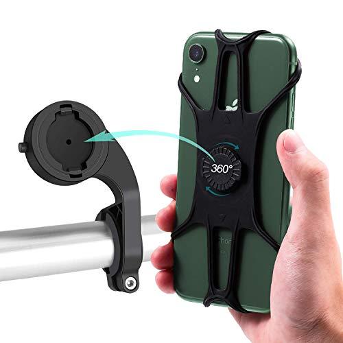 WisFox Porta Cellulare Bici, Porta Cellulare Moto Manubrio Regolabile Rotazione di 360° Gradi, Porta Telefono in Silicone Staccabile Anti Vibrazione per Smartphone 4.0-6.8 Pollici