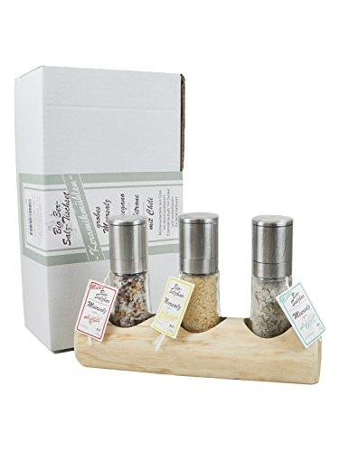 direct&friendly 3er Bio Tischset und Geschenkset Mühlen mit Salz mit Chili,Oregano, Zitrone und Holzboard aus regionalem Holz aus Württemberg