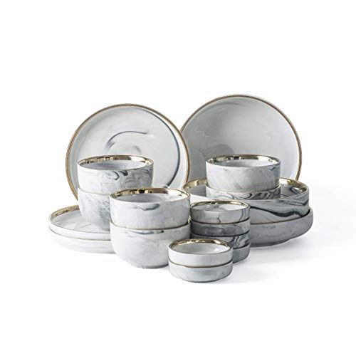 KANJJ-YU Bowl HYDT - Juego de platos de cocina (18 piezas, para el hogar, servicio para 4 piezas, vajilla de cerámica Phnom, apto para almuerzo y cena)