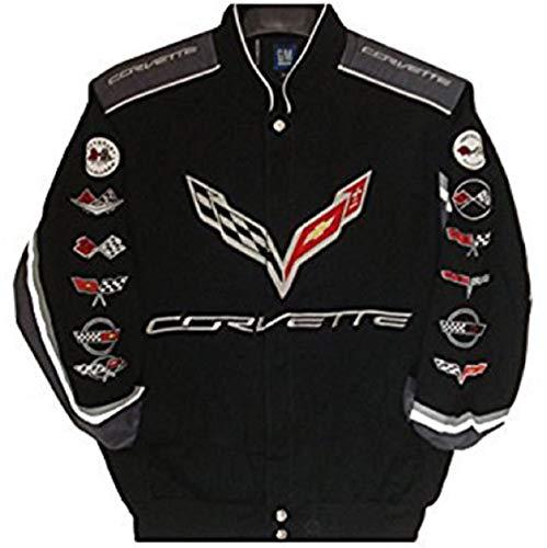 J.H. Design Corvette Racing Embroidered Cotton Jacket Black Size Large