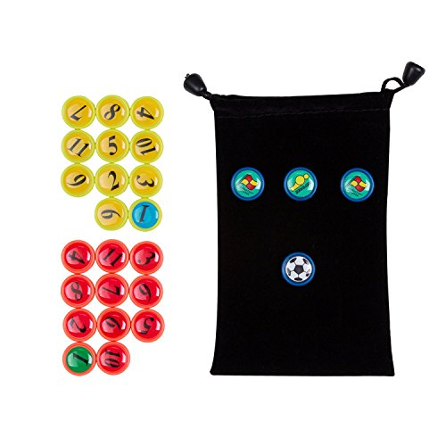 AGPTEK 26PCS Soccer Magnets, Football Magnets Tactic Coaching Strategy Black Drawstring Bag