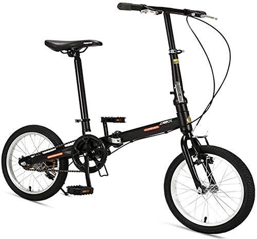 "Aoyo 16\"" Falträder, High-Carbon Stahl Leichtgewichtler Faltrad, Mini Single Speed Verstärkter Rahmen Commuter Bike, leichte, tragbare, (Color : Black)"