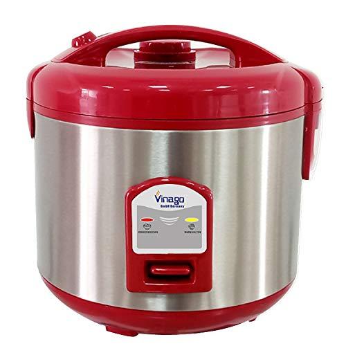 Vinago Edelstahl-Reiskocher (mit Reislöffel und Messbecher) (Rot, 1 L)