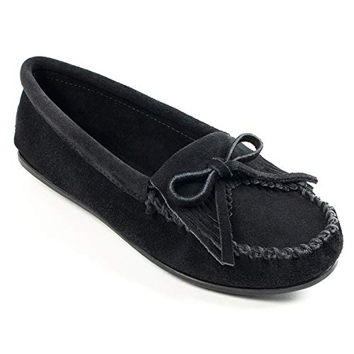 Minnetonka Women's Kilty Hardsole Moccasins 7 M Black