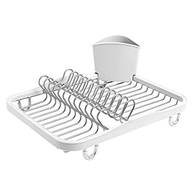 Umbra Sinkin Dish Drying Rack – Dish Drainer Caddy with Removable Cutlery Holder Fits in Sink or on Countertop, White