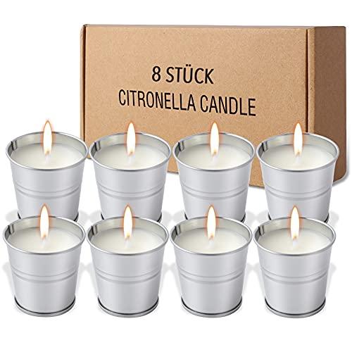 FUMUM Zitronella Kerze für draußen & innen 8 Stück,100% Sojawachs Hochwertige Citronella Duftkerze für Sommer Garten Camping Reise [15Std. Brennen] [Stabiler Duft]