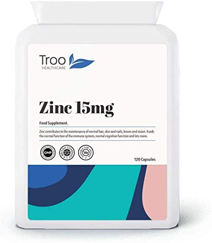 Zinc 15mg 120 Capsules - Essential Mineral Supplement for Immune System Support and Skin, Hair & Nail Care