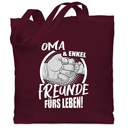 Shirtracer Oma Geschenk - Oma & Enkel Freunde fürs Leben! - Unisize - Bordeauxrot - stoffbeutel oma - WM101 - Stoffbeutel aus Baumwolle Jutebeutel lange Henkel