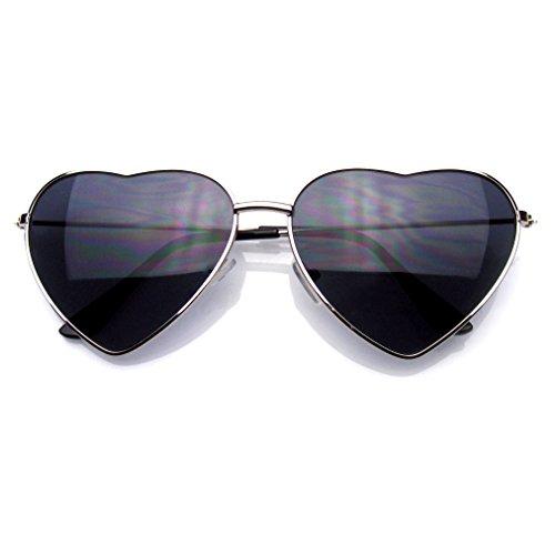 Emblem Eyewear Premium Mujer Lindo Marco Metal Corazón Forma De Gafas De Sol (Plata)