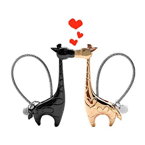 Portachiavi Coppia, Simpatico Portachiavi Giraffa Portachiavi Magnetico Amore con Confezione Regalo Coppia Portachiavi in Lega di Alluminio Regali per Fidanzata Fidanzata (Nero e Oro Rosa)