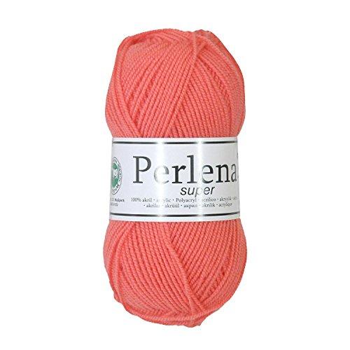 50g Strickgarn Perlena Strick-Wolle Handstrickgarn uni + mehrfarbig, Farbwahl, Farbe:koralle