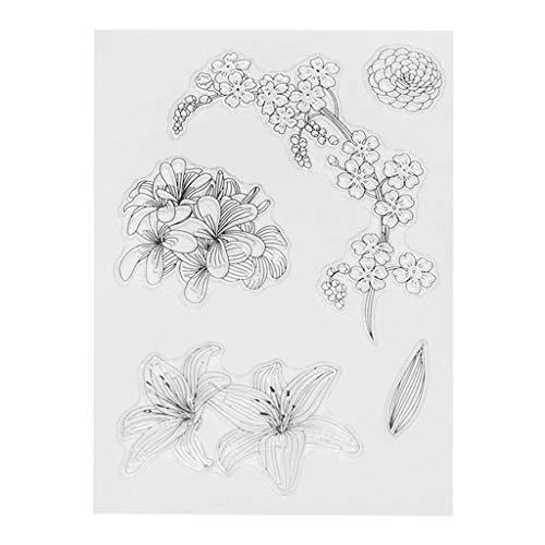 ECMQS Juego de sellos de silicona transparentes con diseño de flores, para manualidades, para álbumes de recortes