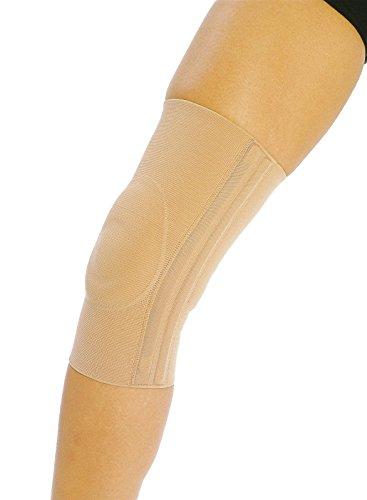 COMPRESSANA Genu Knie-Bandage - Stütz-Bandage zur Entlastung und Stabilisierung des Kniegelenks mit seitlichen Spiralen und Patella-Polstern - Größe III - Farbe silk