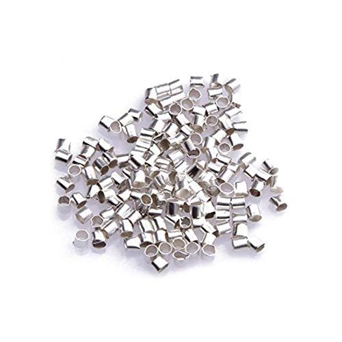 lulongyansf Zylindrische Spacer Perlen Legierung Rocailles Kleine Perlen Kit für Schmucksachen, die Perlenstickerei Crafting 2mm Sliver 500Pcs für Schmuck