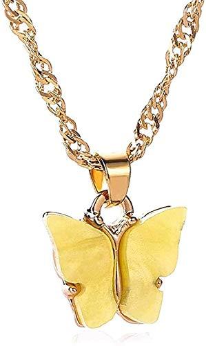 LDKAIMLLN Co.,ltd Collar Mujeres Hombres Colgante Mujeres Colorido Acrílico Mariposa Collar Trenzado Cadena Collar de Declaración de Insectos