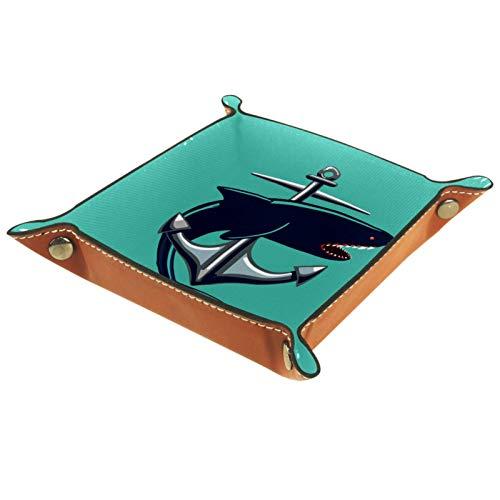 Caja de almacenamiento pequeña, bandeja de valet para hombre,Ballena de ancla de animales ,Organizador de cuero para llaves de caja de monedas