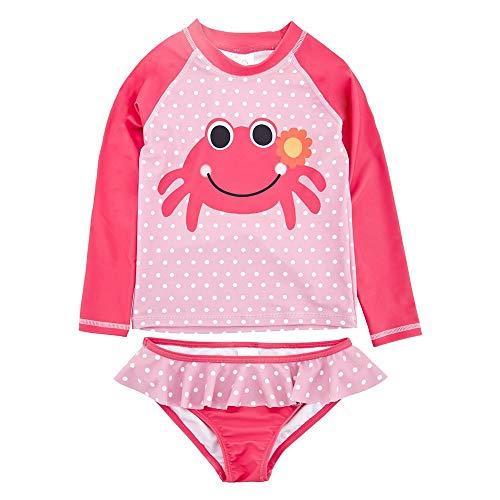 Achiyi Baby Girls Two Piece Swimsuits for Girls - Kids Girls 1-8T Long Sleeve Rash Guard Bathing Suit Swimwear with UPF 50+ 12M