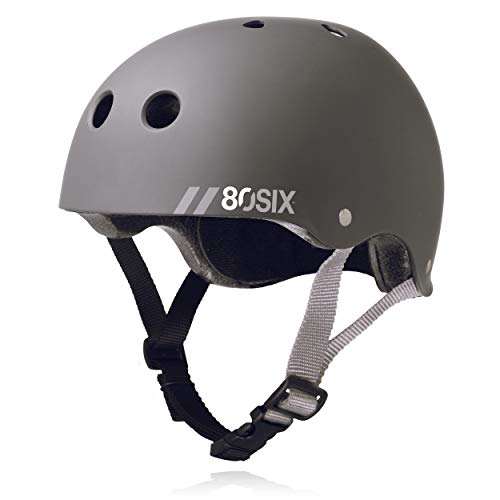 80Six Dual Certified Kids' Bike, Scooter, and Skateboard Helmet, Grey Matte, Junior - Ages 5+