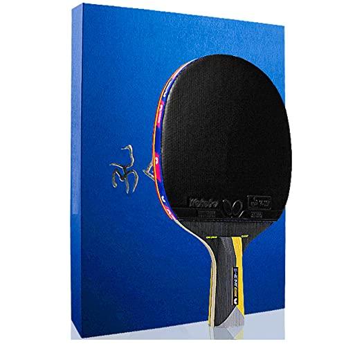 LINGOSHUN Paleta de Ping Pong de Carbono,Raquetas de Tenis de Mesa Avanzados Aprobados por la ITTF con Embalaje de Caja de Regalo,Entrenamiento Profesional / 1 Pack/Short handle