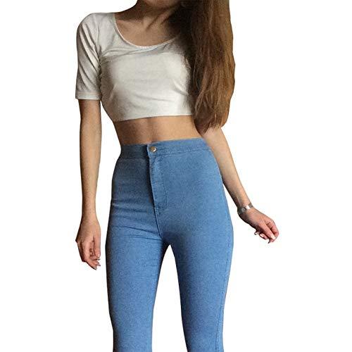 KXDNZK ZKXDN Jeans Voor Vrouwen Stretch Zwarte Jeans Vrouw Broek Skinny Vrouwen Jeans Met Hoge Taille Denim Blauw Dames Push Up Witte Jeans XL lichtblauw