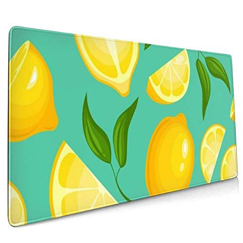 Große Gaming-Mausunterlage Zitrone Limonade Exotisch Gelb Saftig Frucht rutschfest Gummi Verdicken 3 Mm Tastatur Mauspad Mousepad 40 x 75 cm