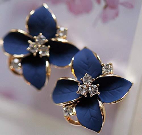 Joyería de Moda Clip de Oreja Mate Tridimensional Flores Azules Pendientes de Flores de Cristal Pendiente Elegante Femenino Perforado