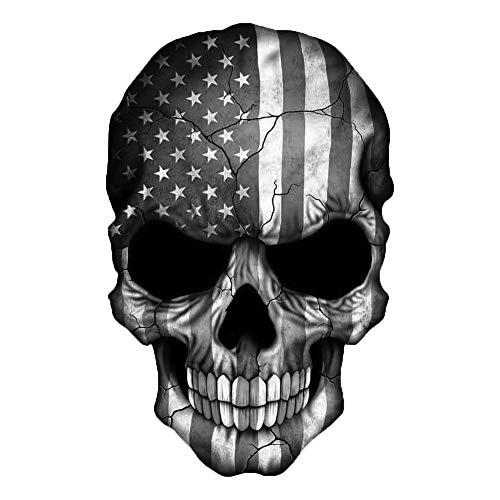 EZ CUT PRO Skull American Flag Black and White Decal Sticker 3M USA Truck Bike Helmet Vehicle Window Wall (3' Tall)