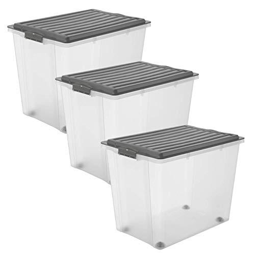 Rotho Compact 3er-Set Aufbewahrungsbox 70l mit Deckel und Rollen, Kunststoff (PP) BPA-frei, anthrazit/transparent, 3 x 70l (57,0 x 39,5 x 51,1 cm)