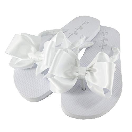 Bow Flip Flops Weißer Satin, flach, ohne Absatz, Hochzeits-Braut- oder formelle Sandalen, Wei� (weiß), 37 EU