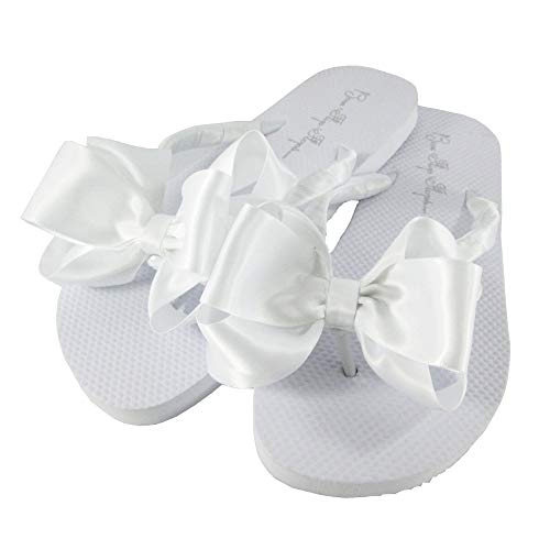 White Satin Bow Flip Flops, Flat No Heel, Wedding Bridal or Formal Sandals (White, 6)