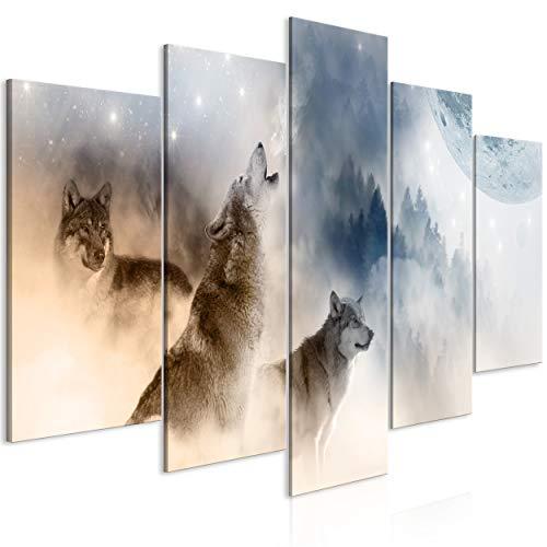 decomonkey Bilder Tiere 100x50 cm 5 Teilig Leinwandbilder Bild auf Leinwand Wandbild Kunstdruck Wanddeko Wand Wohnzimmer Wanddekoration Deko Wolf Abstrakt Landschaft