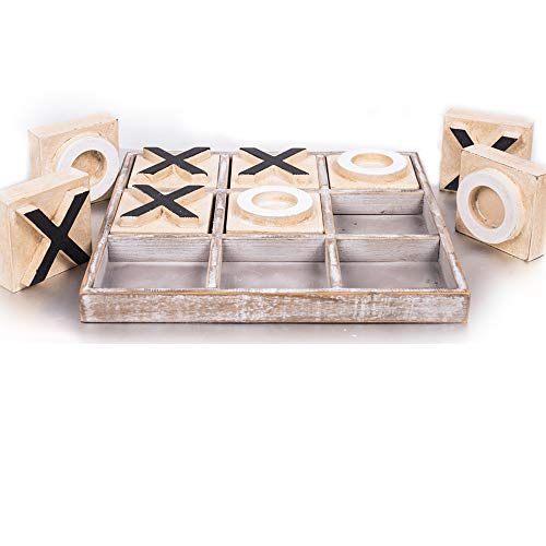 JEVERGN Tic Tac Toe Huge Wooden Coffee Table Games Family Board Game with Decor Rustic Board Games for Adult amp Kids Brownwashed