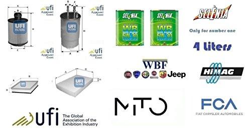 Kit filtri tagliando UFI Alfa Mito 1.6 JTDm 16v 84 Kw + 4 Litri Olio Selenia 5W30
