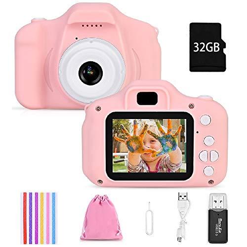 Faburo Kinderkamera Digital Kamera Mini Kamera Kinder Spielzeug 2.0 Zoll Bildschirm Kamera Video Spiel Multifunktion mit 32GB SD Karte USB Ladekabel Rosa