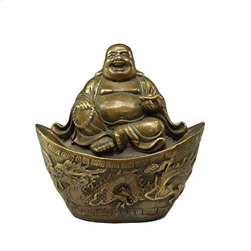 Laughing Buddha Figure,Brass Buddha Statues and Sculptures for Home Decor & Office Desk Decor,God of Wealth Statue