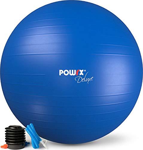POWRX Gymnastikball Sitzball Anti-Burst inkl. Pumpe und Workout | Verschiedene Größen 55, 65, 75, 85, 95 cm und Farben (Königsblau, 75 cm)
