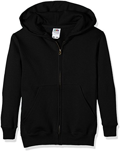 Fruit of the Loom Unisex Kids Zip front Classic Hooded Sweat Black 12 13 Years Manufacturer Size34