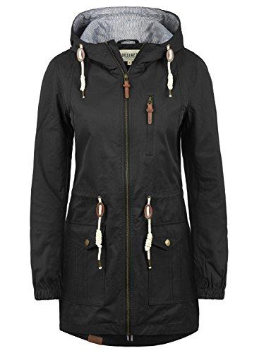 DESIRES Inata Damen Übergangsmantel Parka Lange Jacke Mit Kapuze, Größe:XS, Farbe:Black (9000)