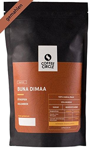 Coffee Circle | Premium Kaffee Buna Dimaa | 350g gemahlen | Kräftiger Bio Filterkaffee mit wenig Säure | 100% Arabica Blend | fair & direkt gehandelt | frisch & schonend geröstet