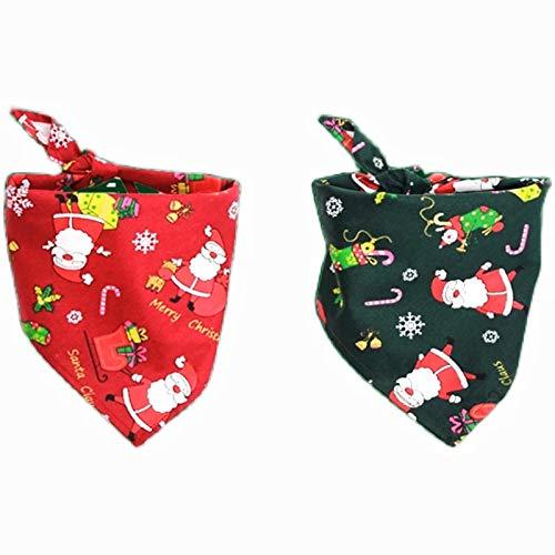 Turlove Dog Christmas Bandana Triangle Scarf with Santa Christmas Red and Green Xmas Puppy Shawl Set Pack of 2