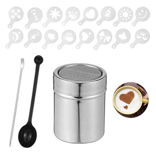 cailiya 1 pz Draghe in Acciaio Inox Shaker in Polvere,Shaker per Cioccolato con 16 Stampo per Cappuccino, 1 Cucchiaio Dosatore e 1 Perno di Arte del caffè, per Cucina, Bevande, Pasticceria