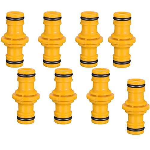 RENJIANFENG 8 Pack Double Mose Manguera Conectores Y Accesorios Extender para Unirse Al Tubo De Tubería De Manguera De Jardín (Amarillo)