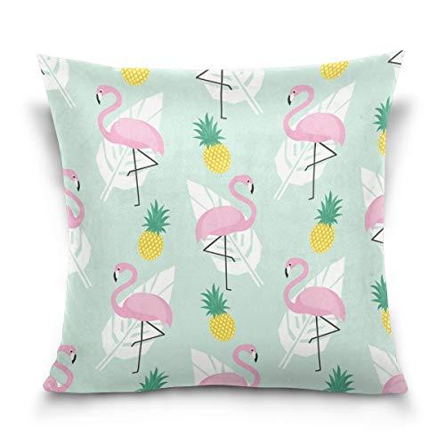 Nvfshreu Funda De Almohada Decorativa Funda De Cojín Funda De Almohada Estilo Simple Hoja De Palma Rosa Flamingo Piña Sofá Cama Funda De Almohada (50.8 X 50.8 Cm) Algodón Doble Lado 16X16 Pulgadas