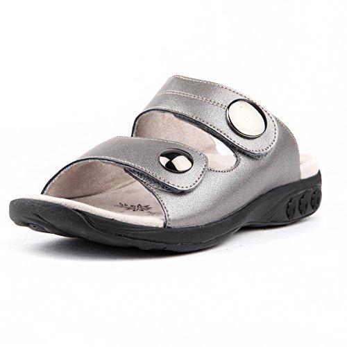 Therafit Eva Women's Leather Adjustable Strap Slip On Sandal - Pewter, Size 7 - for Plantar Fasciitis/Foot Pain